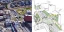 Links de huidige situatie op De Nieuwe Poort, rechts een schets van hoe het nieuwe verkeersplein eruit kan komen te zien.