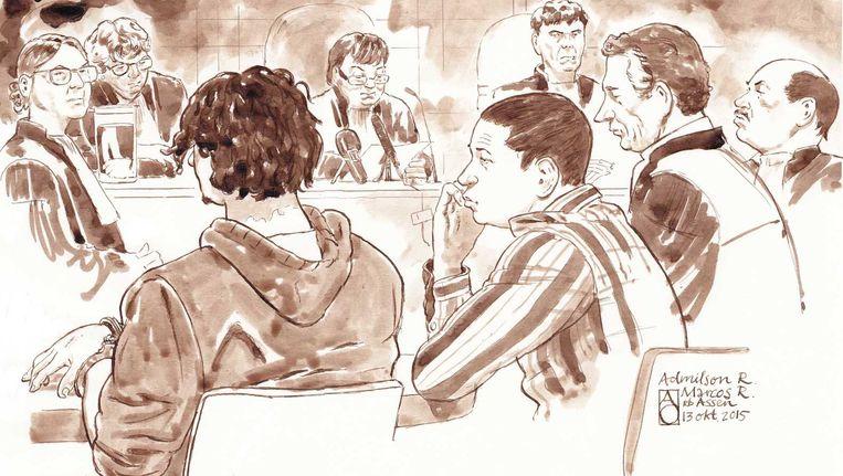 Rechtbank van Assen tijdens de zaak van de drie zogeheten Drentse roofmoorden. Beeld anp