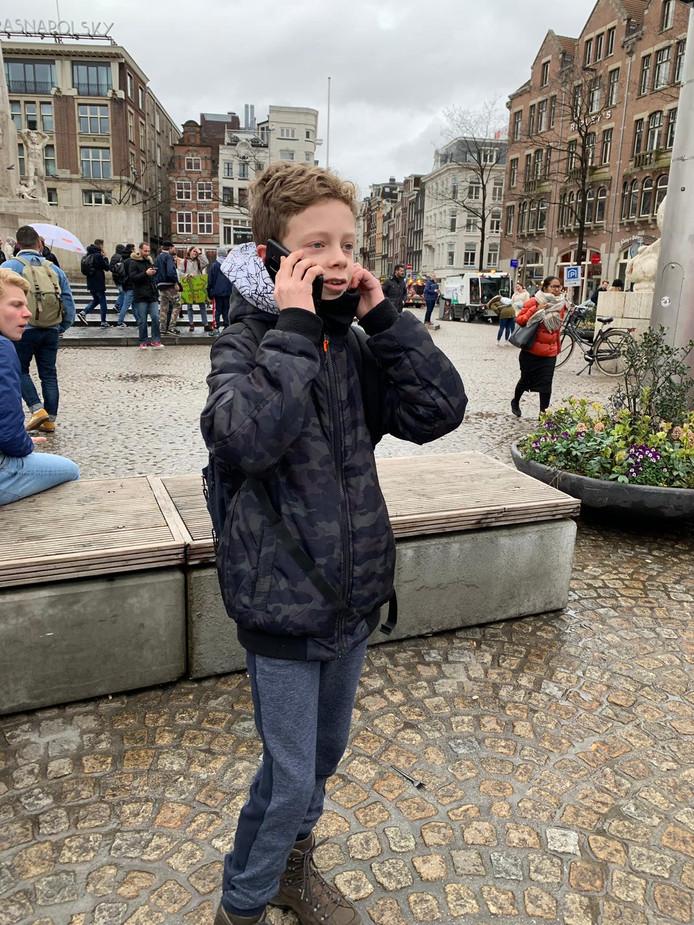 Teun, de initiatiefnemer van de Jenapleindeelname aan de klimaatmars in Amsterdam.