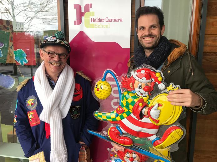 Willem Schoonebeek van de BFC (links) en Bart van Kempen van Helder Camara in Teteringen over het Groot Kielegats Scholenproject.