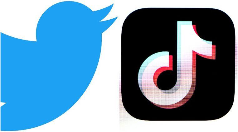De logo's van Twitter (links) en TikTok.