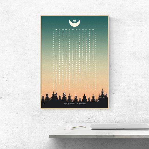 Poster Maan, fasen 2019, 7 euro