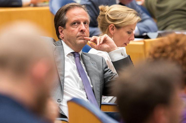 Alexander Pechtold (D66) tijdens het Tweede Kamerdebat over het eindverslag van de informateur. Beeld anp