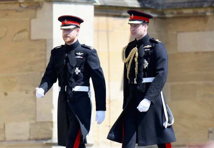 Le prince William et le prince Harry photographiés lors du mariage de ce dernier avec Meghan Markle, en mai 2018.