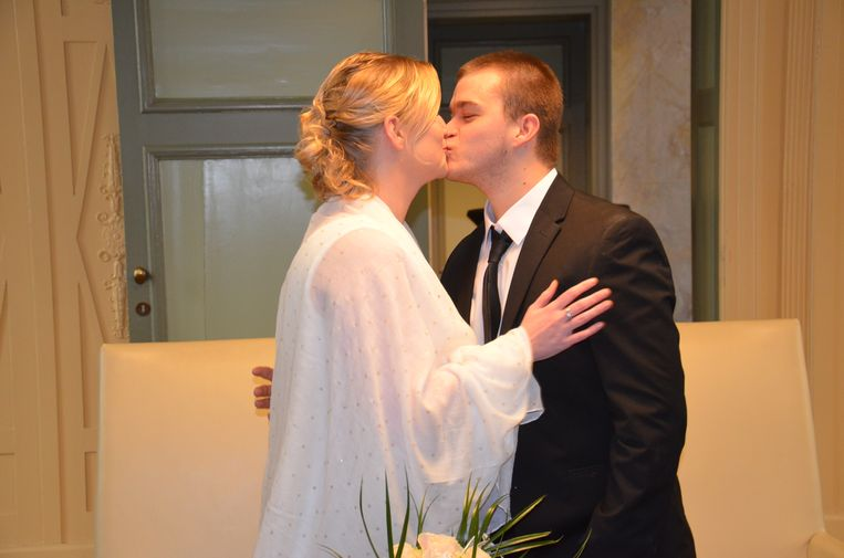 Ory De Bruck en Melissa Vlamings tijdens hun huwelijk op Valentijnsdag.