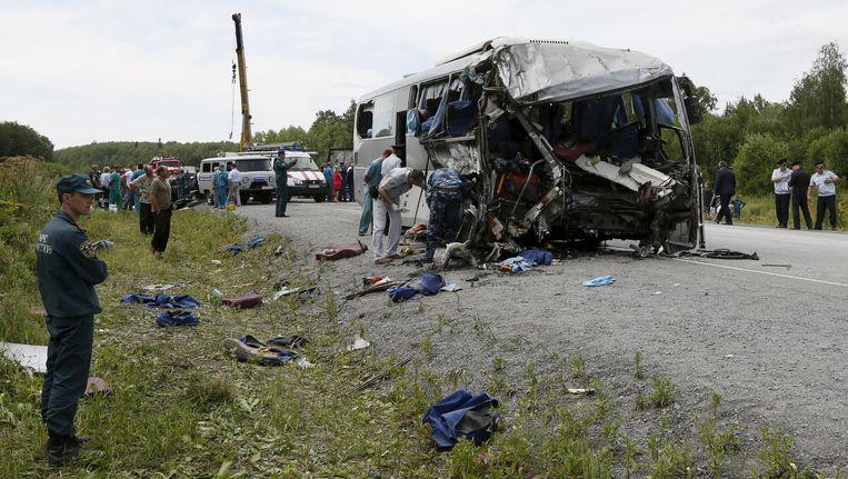 Archieffoto van een eerder busongeluk in Rusland. Van het ongeluk van afgelopen nacht zijn nog geen foto's. Beeld reuters