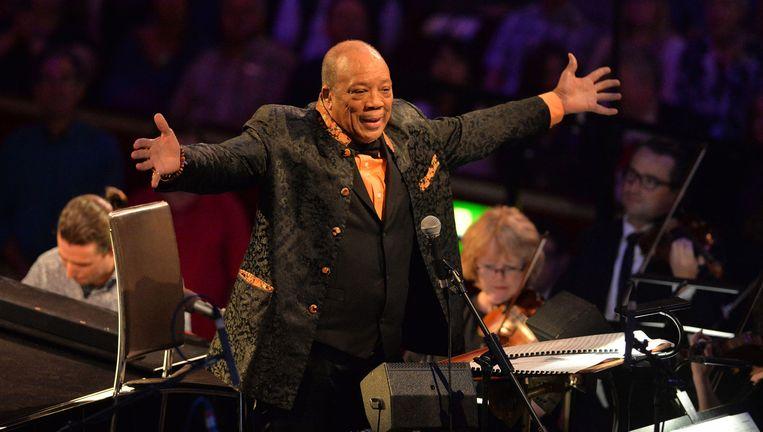 Quincy Jones maandag in de Royal Albert City Hall voor het Metropole Orkest. Beeld Mark Allan