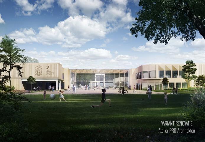 Een schetsontwerp van een gerenoveerd gemeentehuis in Twello, van architectenbureau Atelier PRO.