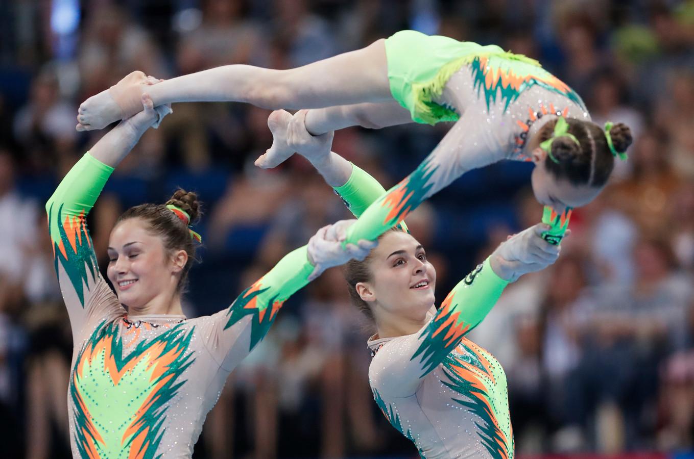 2019 European Games - Acrobatic Gymnastics - Women's Groups All-Around Combined - Minsk Arena, Minsk, Belarus - June 23, 2019.  Belgium's Talia De Troyer, Britt Vanderdonckt and Charlotte Van Royen in action during the finals REUTERS/Vasily Fedosenko
