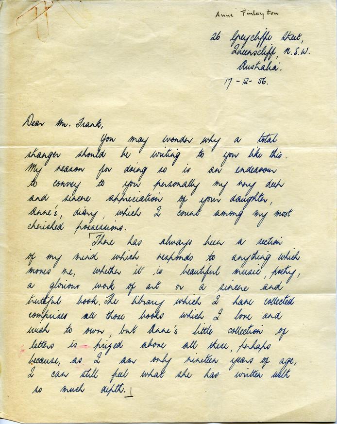 Een van de brieven van Otto aan Anne