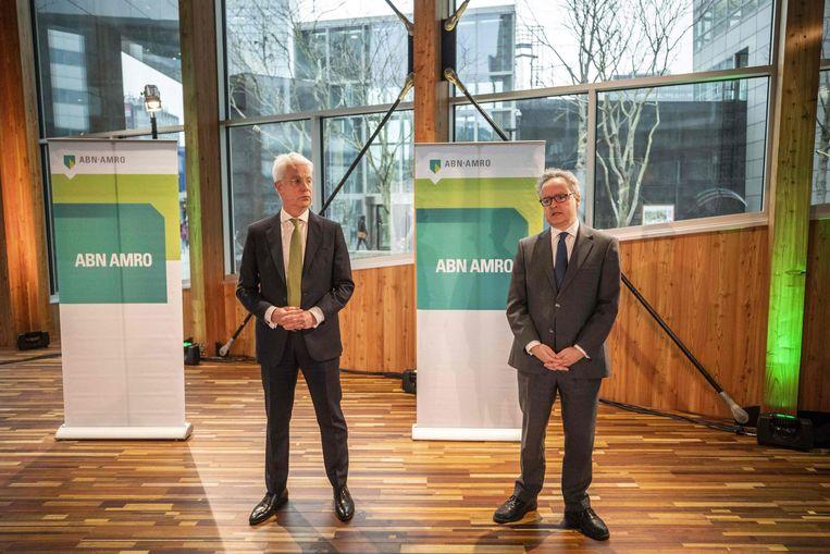 AMN AMRO CEO Kees van Dijkhuizen en CFO Clifford Abrahams tijdens de presentatie van de resultaten van 2018. Beeld AFP