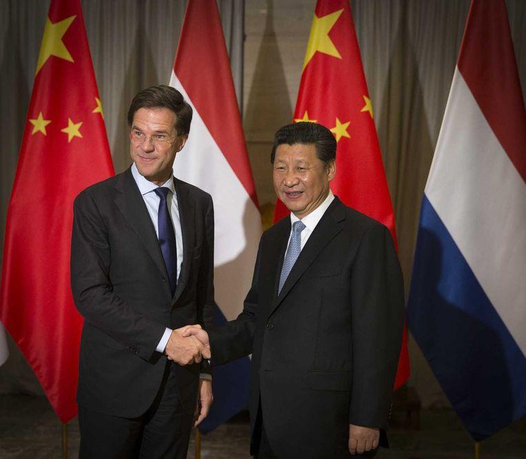 Premier Rutte en de Chinese president Xi Jingping. Beeld null