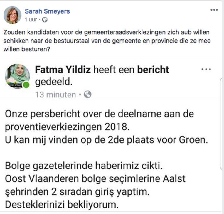 Sarah Smeyers maakt zich druk over het Turks van Fatma Yildiz.