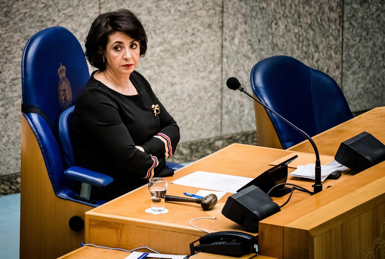 Kamervoorzitter Khadija Arib tijdens een Kamerdebat over de coronacrisis.