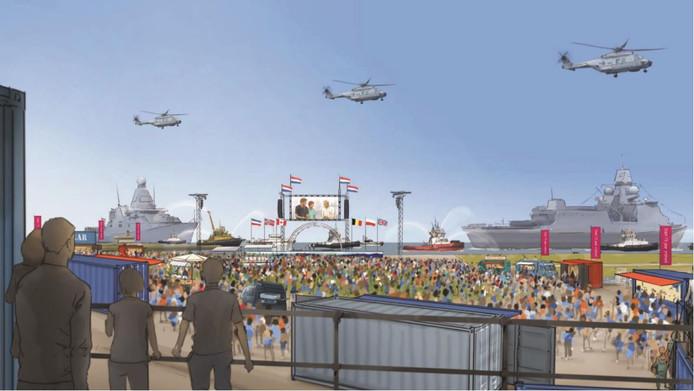 Ruwe impressie van het Veerplein op 31 augustus. Waarschijnlijk zullen er geen helikopters boven de Schelde te zien zijn.
