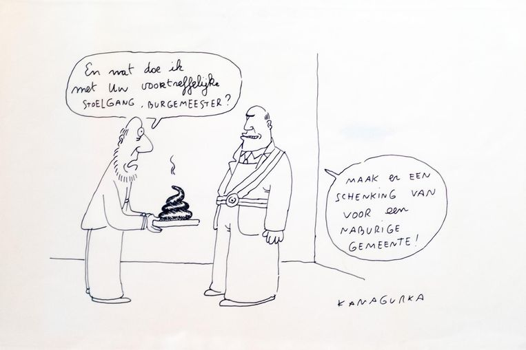 """De tekening van Kamagurka voor Koen Van den Heuvel, een cadeau van het schepencollege. Volgens sommigen """"drollig""""."""