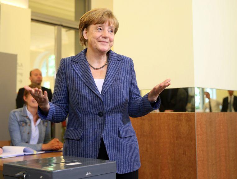 Duitse Bondskanselier Angela Merkel ging vandaag stemmen in Berlijn.