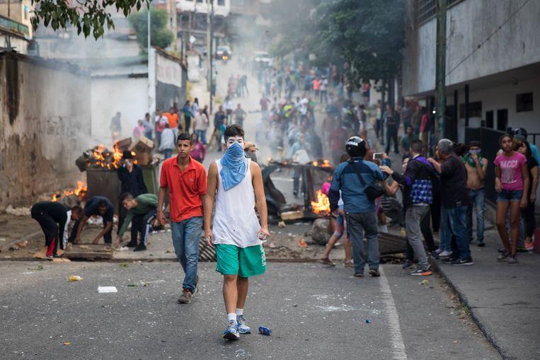 Demonstratie in Venezuela na de couppoging van Juan Guaidó Beeld EPA