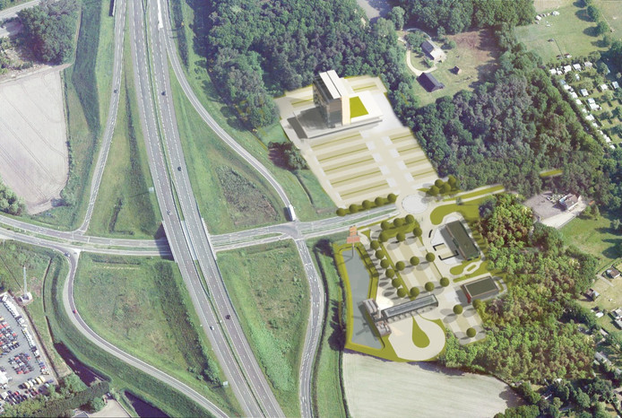 Van der Valk wil een groot nieuw hotel bouwen aan de rand van Bergen op Zoom, bij snelwegknooppunt A4/A58.