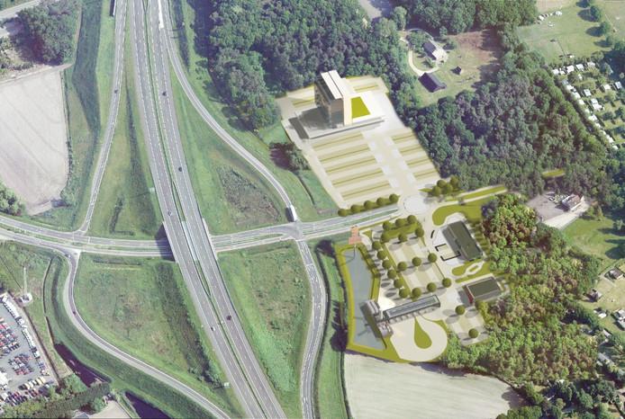 Dit is het plan: hotel, fastfoodrestaurants, tankstations en groot parkeerterrein. Pal naast de A4. Waar de Randweg Noord begint.