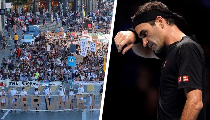 Het protest tegen de samenwerking tussen Roger Federer en Credit Suisse.