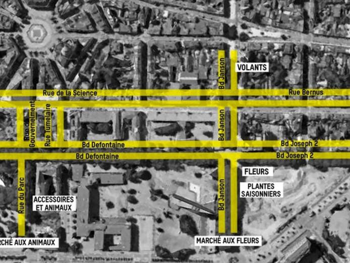 Plan du nouveau marché dominical de Charleroi