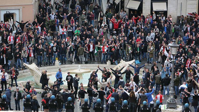 Eerder deze week misdroegen Feyenoordsupporters zich op het Piazza di Spagna