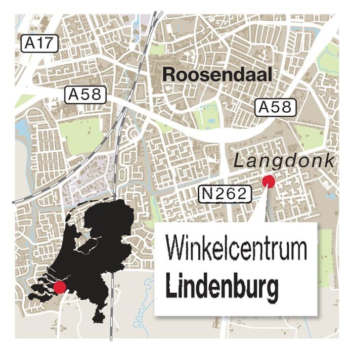 Winkelcentrum Lindenburg in wijk Langdonk in Roosendaal