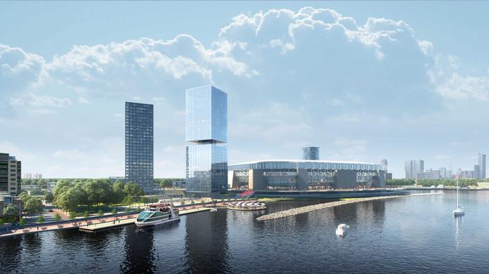 Het nieuwe Feyenoordstadion op een impressie. Gooit de 'stikstofaffaire' roet in het eten?