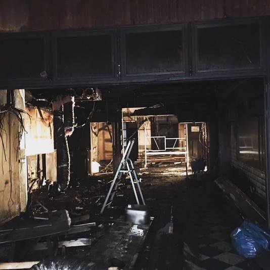 Schade na de brand in Feestcafé Lalalaa