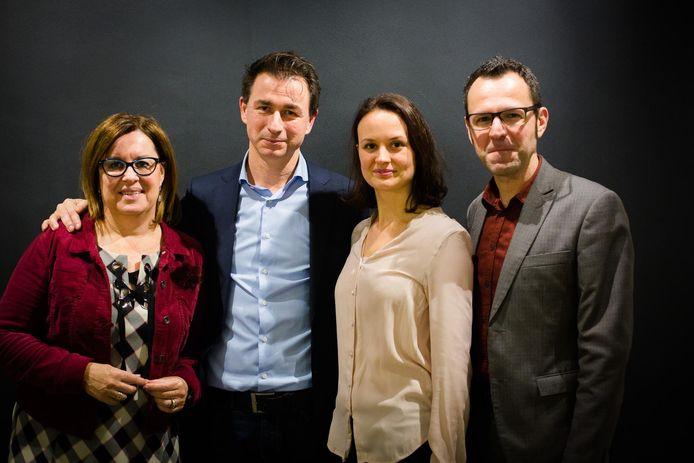 Brigitte Smets, Marc Schepers, Derya Erdogan en Joost Venken van de lijst Rood-Groen voor Hasselt.