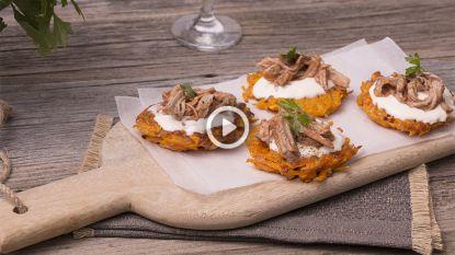 Fancy fingerfood om vingers bij af te likken: zoete aardappelkoekjes met pulled pork