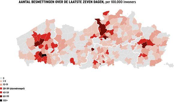 Ook de het westen van de regio Meetjesland en Deinze kleurt nu lichtjes roze.