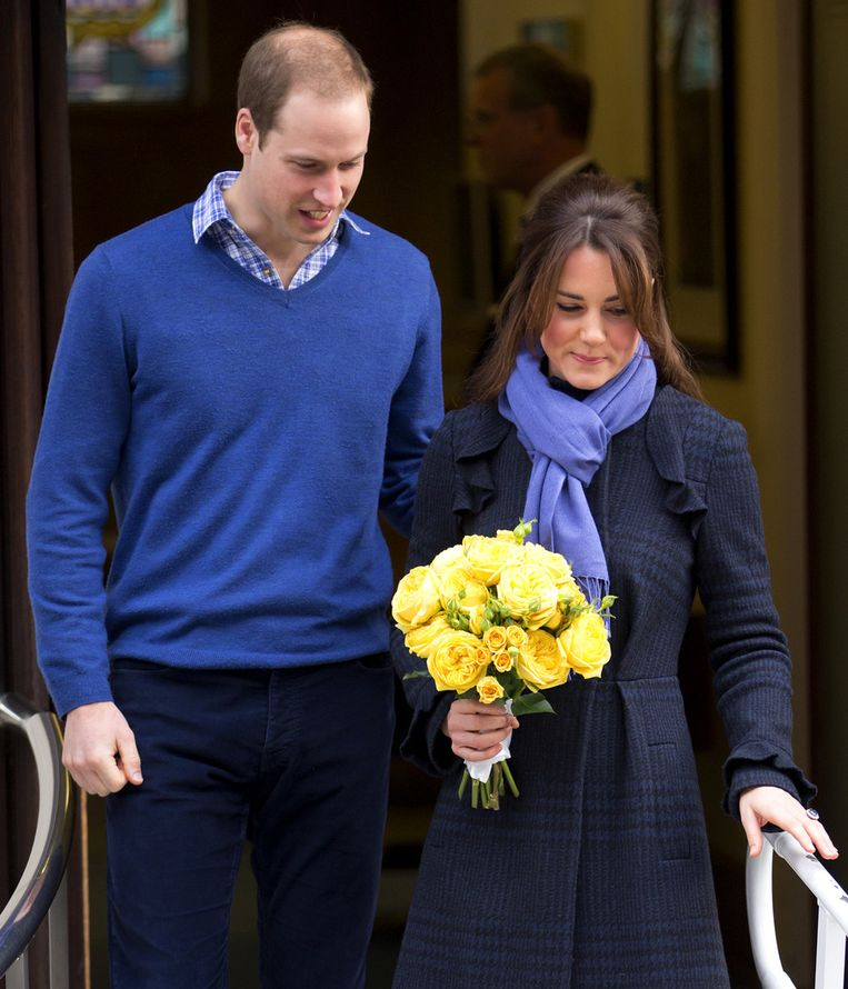 William en Kate verlaten het ziekenhuis, donderdag Beeld getty
