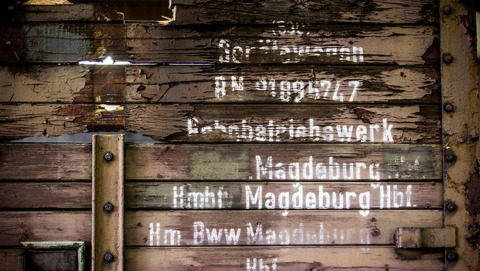 Drie oude goederenwagons die waarschijnlijk voor de deportatie van Joden zijn gebruikt staan in het Herinneringscentrum Kamp Westerbork.