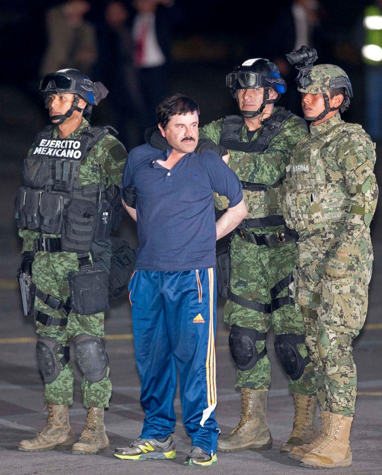 Joaquín 'El Chapo' Guzmán kort na zijn tot nu toe laatste arrestatie, in 2016. Beeld AP