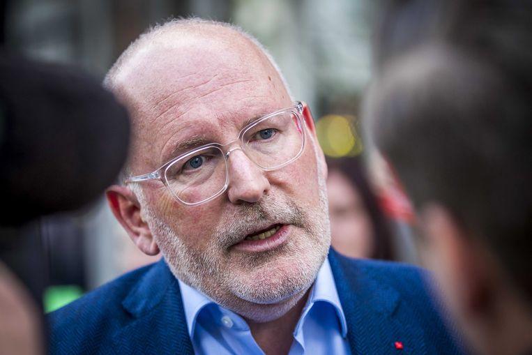 Frans Timmermans, voorafgaand aan het Maastricht Debat, waar de kandidaten voor het voorzitterschap van de Europese Commissie met elkaar in aanloop naar de Europese verkiezingen het debat aangaan. Beeld EPA