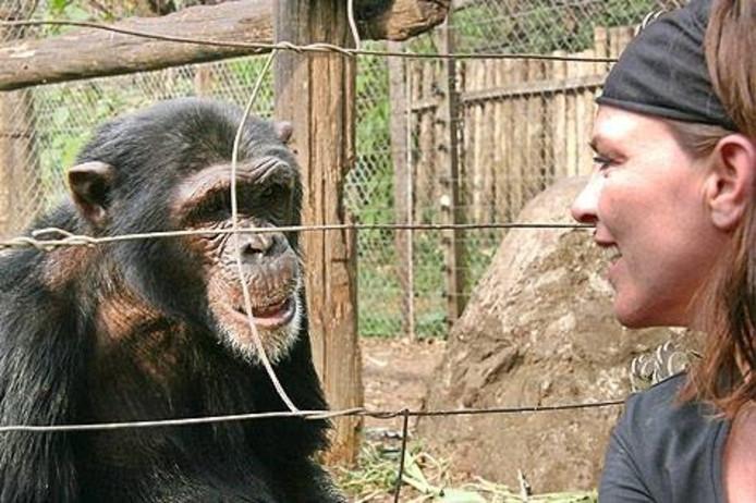 Liesbeth van der Burgt bij de apenopvang in Kameroen.