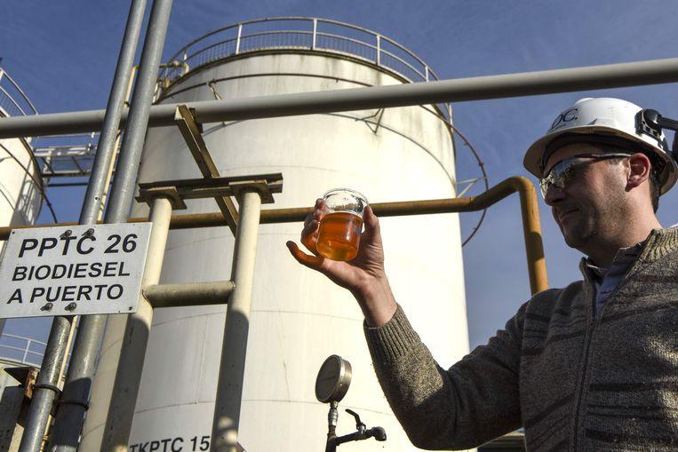 Een technicus toont een monster biodiesel. Beeld AFP