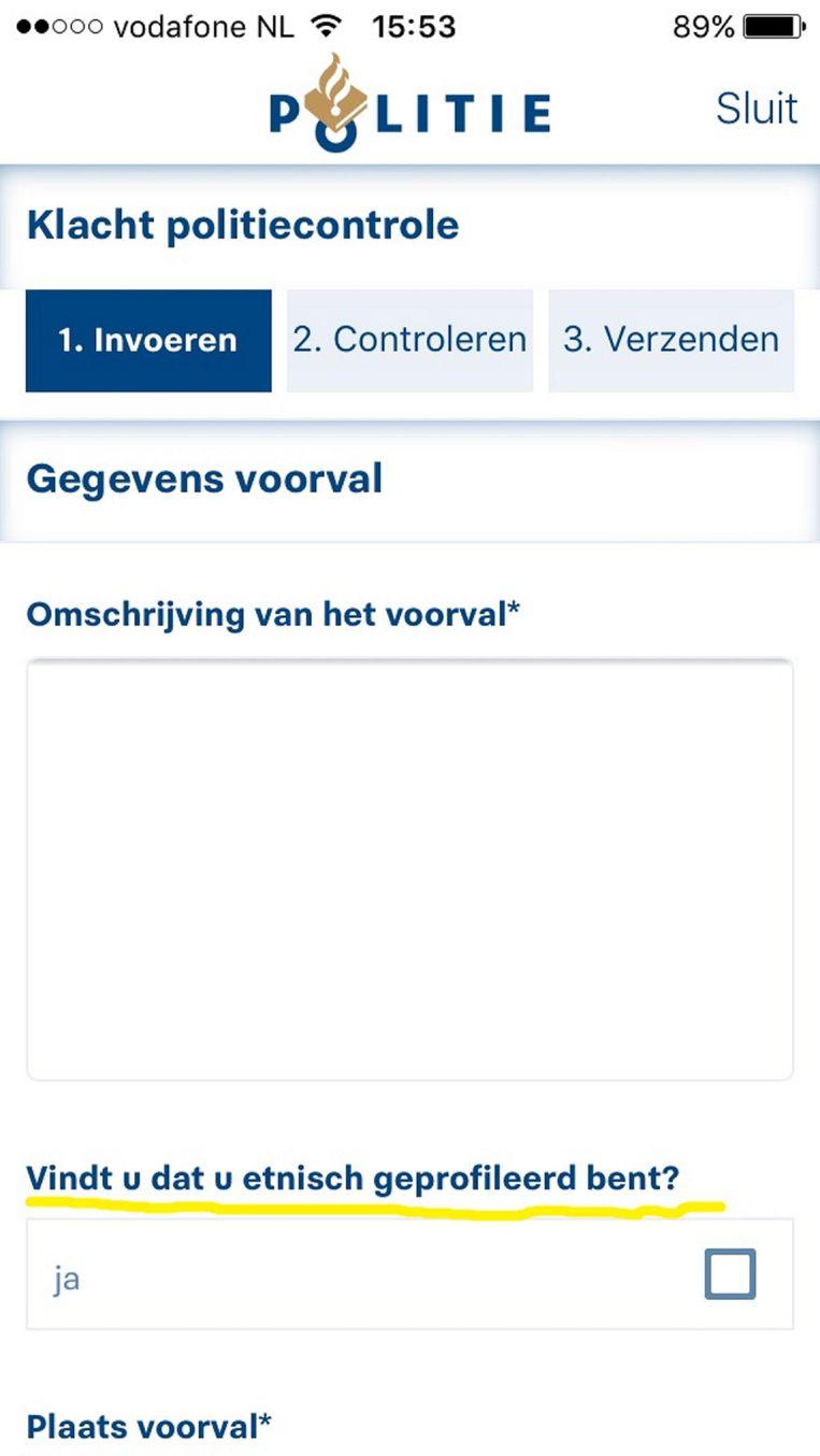 Schermafbeelding politie-app. Beeld .