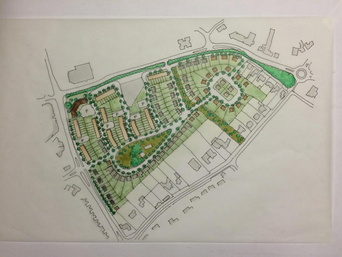 De nog grove schets over de mogelijke indeling van het Dico-terrein in Uden. Onderaan ligt de Maasstraat.