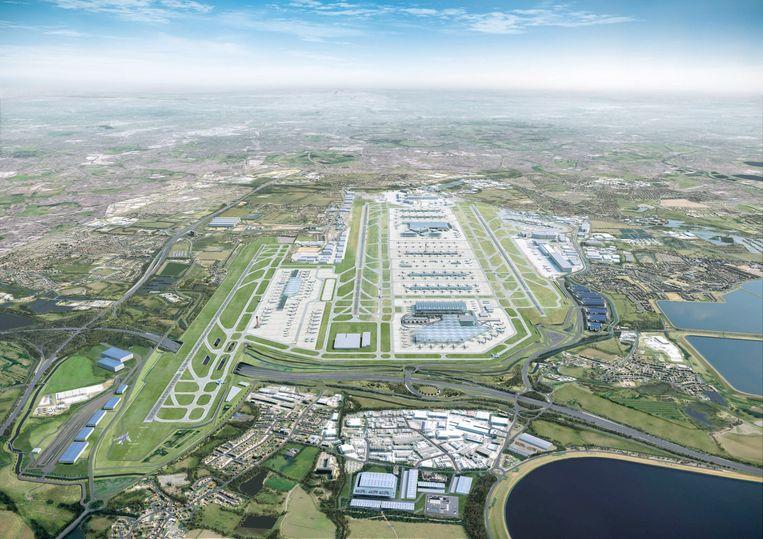 Zo zou de luchthaven van London Heathrow eruit zien met een derde landingsbaan.