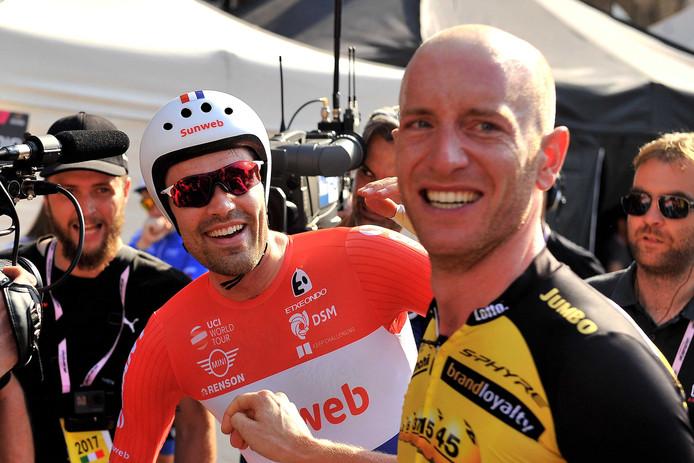 Tom Dumoulin met Jos van Emden, de winnaar van de tijdrit van Monza naar Milaan.