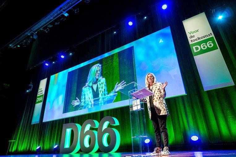 Sigrid Kaag spreekt tijdens de 110de editie van het D66 partijcongres, in november 2019. Beeld ANP