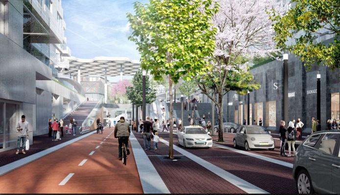 Een artist impression van de toekomstige entree van het Stationsplein vanuit het zuiden. Links de hellingbaan waarlangs de hulpdiensten straks het station kunnen bereiken.