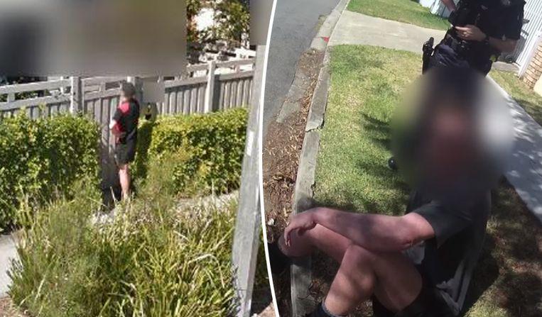 Links een beeld van de man zoals dat op Google Street view verscheen. Rechts een beeld van zijn aanhouding.