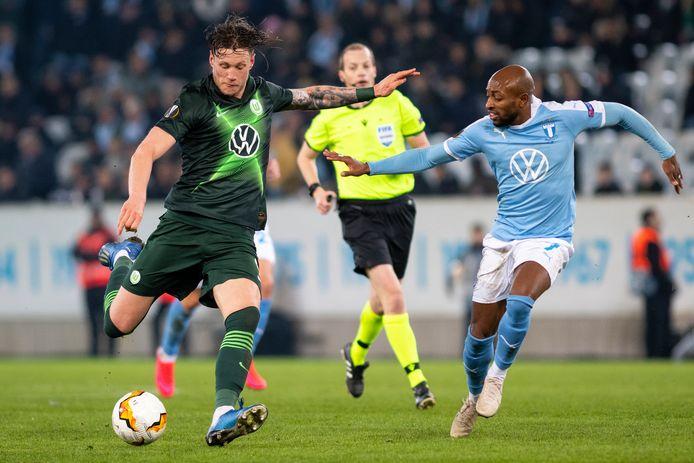 Wout Weghorst in actie tegen Malmö FF.