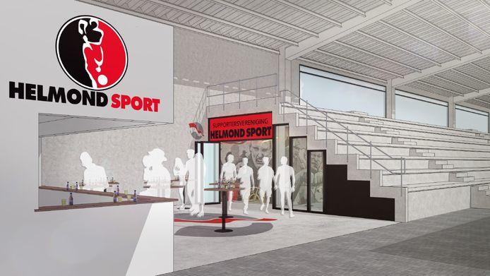 Impressie van het supportershome voor Helmond Sport in het beoogde nieuwe stadion op De Braak.
