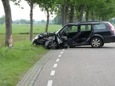 Brandweer bevrijdt vrouw uit auto na knal tegen boom in Broekland
