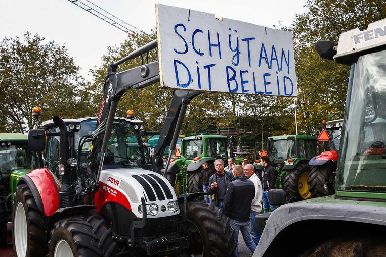 Stikstofprotest door boze boeren in Overijssel. Beeld ANP